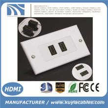 2-Port HDMI 1080P Pared Placa de la cara Panel de cubierta Acoplador Salida Extender 3D Blanco