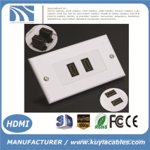 2 ports HDMI 1080P Plaque murale Couvercle du panneau Coupler Outlet Extender 3D White