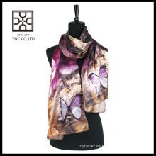 Moda de impresión digital bufanda de satén de seda