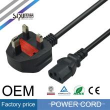 SIPU haute vitesse ordinateur câble d'alimentation pour ordinateur portable en gros AC meilleur prix UK style cordon d'alimentation