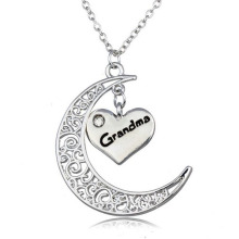 Silver Moon Necklace Pendant Silver Necklace 80cm Letter Necklace Initial