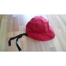 Solid Red PU Rain Cap with Strap for Adult