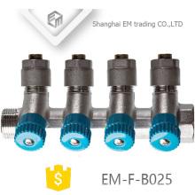 ЭМ-Ф-B025 сжатия Латунь 6 путей коллектор с клапаном