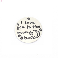 Top sale stainless steel I love you to the moon $ back letter silver plates jewelry