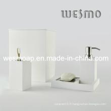 Ensemble de bain en bambou blanc fini lavé (WBB0301D plus poubelle)