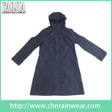 Yj-6203 Womens Girls Black Long Raincoat avec Hood Rain Parka
