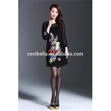 2016 Herbst Langarm-Denim-Kleid Chinesische Stil Frauen gedruckt bestickt Kleid Mäntel