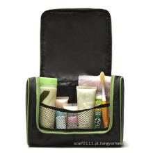 Bolsa de higiene promocional fashion preta de nylon para cosméticos para beleza (YKY7526)