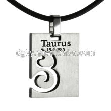 Aço inoxidável Taurus Pingente Zodiac Signs Colares