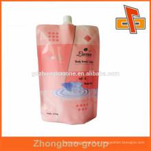 Laminado três camadas de plástico stand up bico saco para a pele de cuidados básicos de embalagem