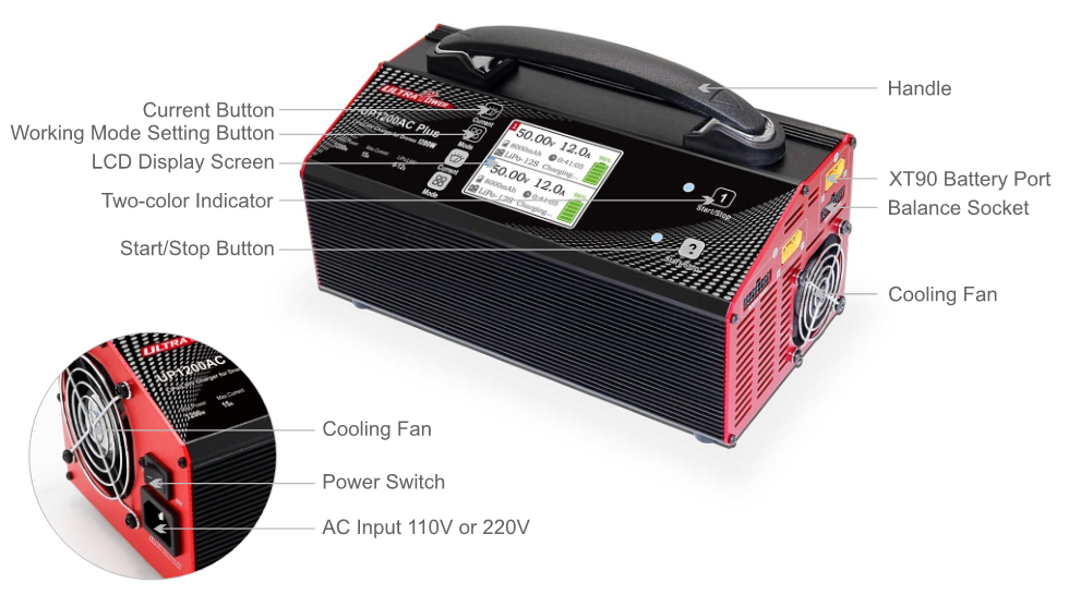 Ultra Power UP1200 1200W 25A 8 Channel 6S LiPo LiHV Smart Portable Balance Battery Charger for Agricultural UAV Drone