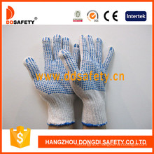 Knitted Cotton Gloves with Blue PVC Dots Both Sides Dkp226