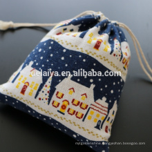 Christmas Gift Bags Custom Cotton Linen Double-side Drawstring Bags Packing Bags
