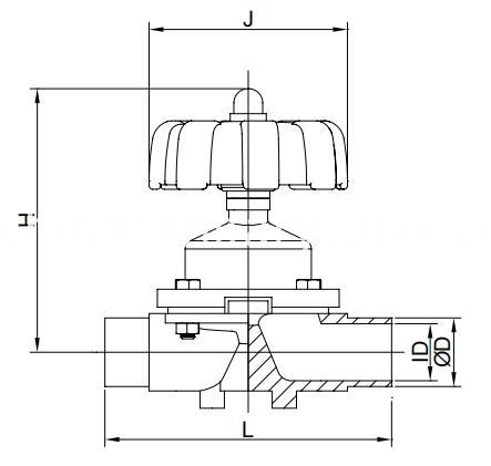 Sanitary manual diaphragm valves weld end plastic handwhee