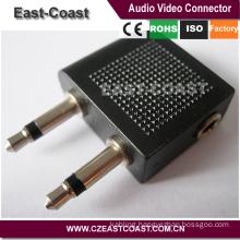 2x 3.5mm Mono Plug to 3.5mm jack airline adaptor