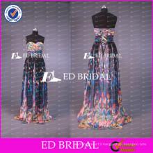 2017 ED Bridal Hot Sale Printed Chiffon Sweetheart Lace Up Long Beach Prom Dresses Real Sample