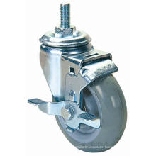 Threaded Stem PU Caster with Side Brake (Gray)