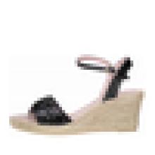 Sequin superior cunha calcanhar espadrille sandália mulheres sapatos de salto alto sola de borracha