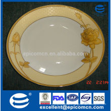 luxury golden fine bone china dinner set of flat plate