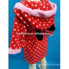 Lovely Hooded 100% polyester coral fleece bathrobe for kids