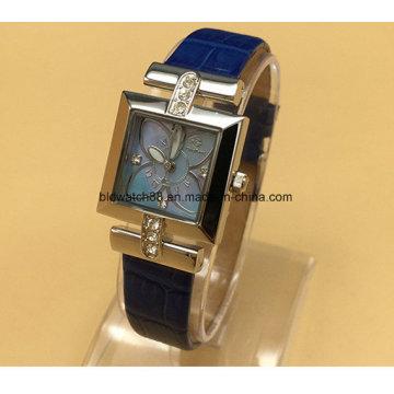 Relógio de senhoras de aço inoxidável da forma para mulheres com faixa de couro