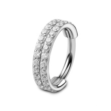 ASTM F136 Titanium Double Layers Paved CZ Hinged Clicker Hoop Nose Ring