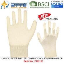 13G poliéster Shell PU guantes recubiertos (PU6101) Toque la punta de la pantalla con CE, En388, En420 guantes de trabajo