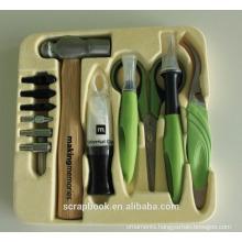 2015 craft tools scrapbook tool kit hammer, setting mat, craft knife, setting base+tips, tweezers