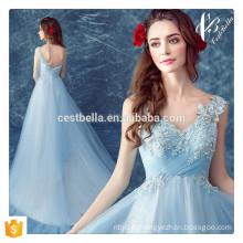 Fornecedor da China Appliqued Beaded Light Blue Elegant Long Evening Dresses para o vestido de festa do feriado do regresso a casa