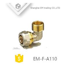 EM-F-A110 encaixe de tubulação de cotovelo conector de compressão de rosca macho de bronze