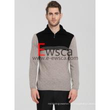 Männer Half-Zip Pure Cashmere Pullover mit schwarzen und weißen Colros