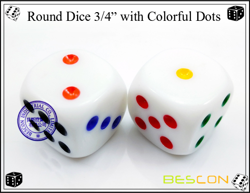 Round Dice 19MM with Colorful Dots-2