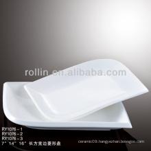 special rectangular & diamond white plate porcelain