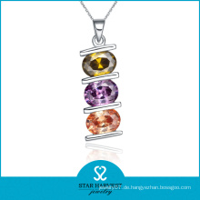 Nette bunte CZ Silber Schmuck Halskette (N-0044)
