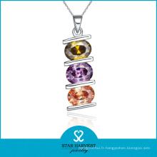 Collier de bijoux en argent coloré et coloré CZ (N-0044)