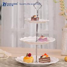 Round Shape Plain Design Pretty Looking Crystal Three Layers Dessert Plate, Vintage China Fruit Cake Plates