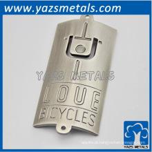 Etiqueta personalizada de metal para bicicleta, com logotipo pessoal