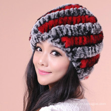 Hot Sell Stripe Fur Knitted Caps Super Soft Winter Warm Hats And Caps For Girls