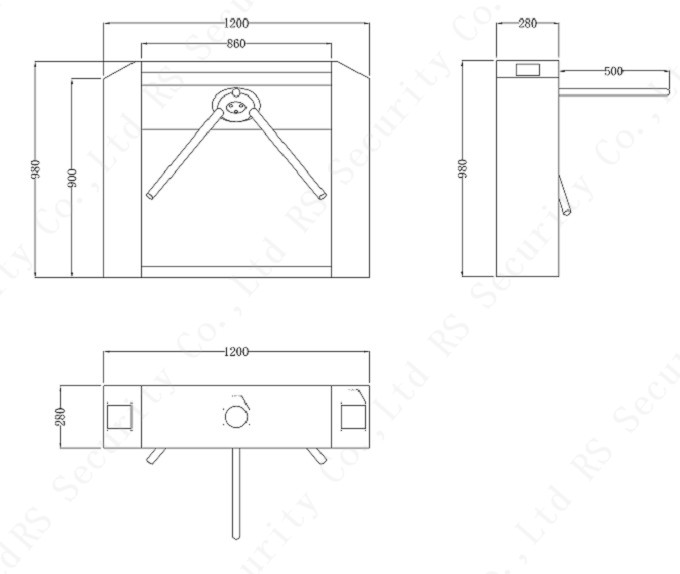 Electric Tripod Turnstile Design Size