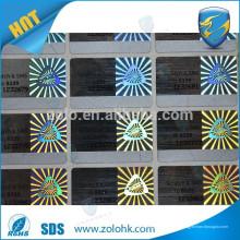 China proveedor de tecnología especial de luz de rayos láser código holograma pegatina para el sellado de la caja