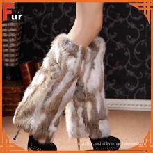 Calentador de pierna de piel de conejo 100% real