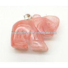 Alta qualidade natural melancia quartzo pingente de elefante semi pingente de pedra preciosa