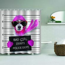 Dog Waterproof Shower Curtain Funny Animal Sunglasses Red Scarf Bathroom Decor