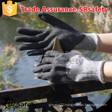 SRSAFETY 13Gauge knitted nylon and HPPE and glassfibre liner 3/4 coated latex on palm, Anti-cut gloves