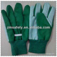 Green cotton garden gloves with pvc dots on palmJRG01