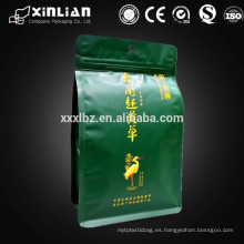 Superior de aluminio de calidad papel de aluminio stand up bolsa de té con ziplock