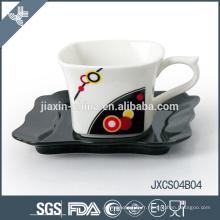 New Mini tasse à café en porcelaine carrée et soucoupe, ensemble de coupe design sliver, petit ensemble de tasses