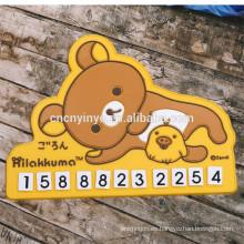 Móvil placa tarjetas los dueños de coche teléfono móvil número placa de goma suave del pvc