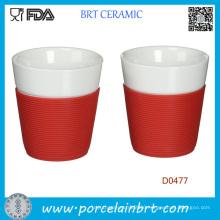 White Wholesale Ceramic Mug with Silicone Sleeve