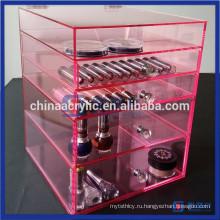 Роскошные 3 ящика Розовый акриловый макияж Организатор Cube Storage
